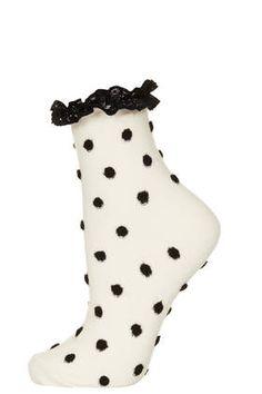 Oatmeal Risen Polka Lace Trim Ankle Socks