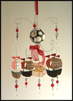 Pirate Ship Chandelier Mobile- baby Mobile- Nursery Mobile- boy