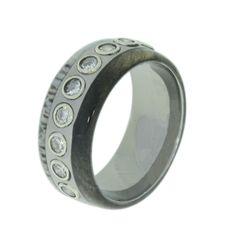 Deer Antler Ring with Buckeye Burl Wood Inlay, 9 Bezel Set Diamonds