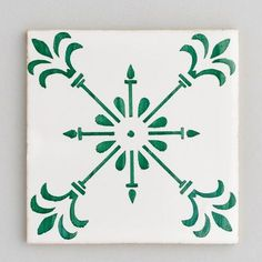 Beja - handpainted, handmade patterned green and white tiles. Portuguese tiles for bathrooms and kitchens from Everett and Blue Blue Kitchen Tiles, Patterned Kitchen Tiles, Kitchen Splashback Tiles, Paint For Kitchen Walls, Green Kitchen, White Tiles, Green Tiles, Tile Patterns, Kitchen Design