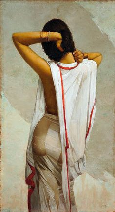 A sensuous portrait of an Indian woman emerging from her bath in a fine, white cotton sari, clinging to her person. The interplay of water, skin, hair, and...