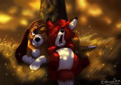 """Lazy Daze by NostalgicChills.deviantart.com on @DeviantArt - Copper and Tod from """"The Fox and the Hound"""""""