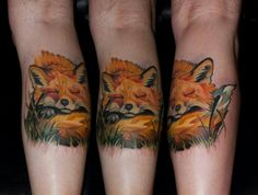 The realistic fox tattoo