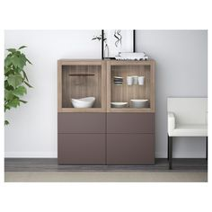 IKEA - BESTÅ Storage combination w/glass doors walnut effect light