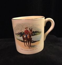 Bovey Pottery RCMP Souvenir Mug Lethbridge, Alberta Made in England Floral Cake, Cake Plates, Devon, Badge, England, Pottery, Mugs, Tableware, How To Make