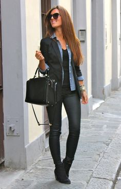 office style street casual black outfit