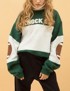 Green White Elbow Patch Letters Print Sweatshirt 23.00