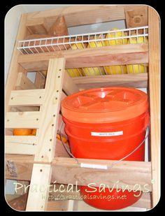 Bulk food storage rack.  A spot for 4 bucket plus bins for potatoes, onions etc.