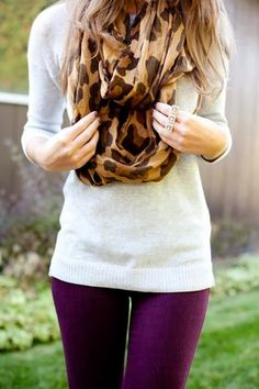 Cheetah design shawl, white sweater and purple pants for fall - got the pants, need the shawl