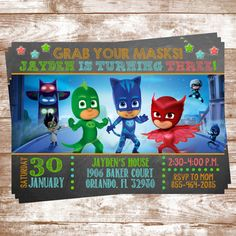 PJ Masks Birthday Invitation Personalized by WaterLilyBows