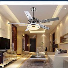 Stainless steel fan chandelier light living room chandelier light fan restaurant sectors LED European modern minimalist fan lamp
