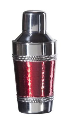 SALE Oggi Hammered Beaded 8-Ounce Mini Cocktail Shaker, Red