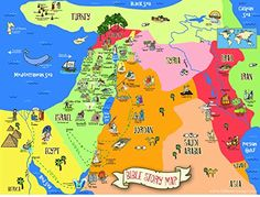 """Bible Story Map Poster 18"""" X 24"""""""