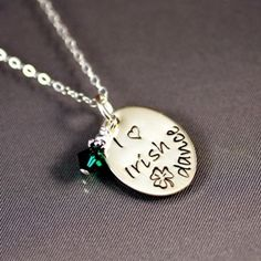 "Handmade Celtic .....The ""I love Irish dance"" pendant is a unique hand stamped Word Art piece made by a Minnesota jewelry designing night owl. She makes each pendant by hand stamping one letter at a time with a loving whack of her hammer."