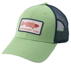 806cffde3 Fish Series Red Fish Patch Trucker Hat in Bay Leaf Green by Southern Tide -  FINAL