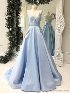Simple Baby Blue Satin V Neck Long Open Back Prom Dress With Pocket from Sweetheart Dress - Prom Dresses Design Prom Dresses With Pockets, Open Back Prom Dresses, Backless Prom Dresses, Lace Evening Dresses, Lovely Dresses, Cheap Formal Dresses Long, Formal Dresses For Weddings, Long Dresses, Wedding Dresses
