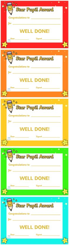 Twinkl Resources >> Star Pupil Award Certificate  >> Classroom printables for Pre-School, Kindergarten, Elementary School and beyond! Certificates, Awards, Class Management