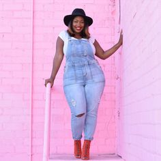In My Joi: Over It All   Rocking slim cut overalls never felt so good ❤  #plussize #denimoveralls