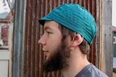 Cycling Cap, Aqua Blue Linen with Embroidery Detail