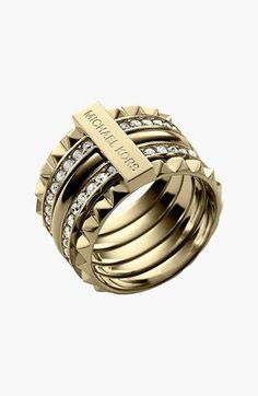 Michael Kors Studded Ring - Softly sparkling crystals pave two slender bands that slide in and out of an edgy studded ring perfect for stacking.