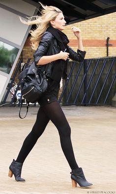 tights + boots + beautiful bag