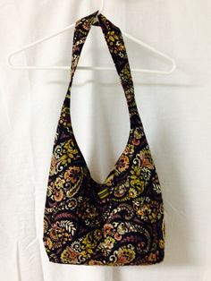 Handmade Cotton Hobo / Sling Bag / Purse Black on Etsy for $19.95