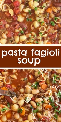 Pasta Fagioli Soup | Soup Recipe | Pasta fagioli soup is so warm, comforting, and bursting with flavor. Convenient canned spaghetti sauce and beef broth form the base for this soup and then it's loaded with ground beef, vegetables, beans, tomatoes, and tender pasta. Serve with garlic bread or crusty rolls and you have a hearty dinner soup. #soup #pastafagioli #dinner #souprecipes #recipeoftheday #comfortfood