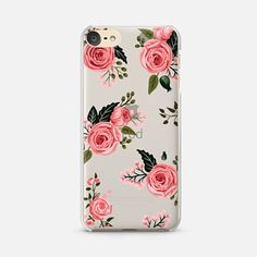 iPod Touch 6 Case Pink Floral Flowers and Roses Chic Feminine Transparent Case 008