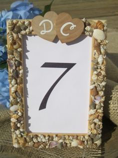 Sea Shell Frame, Wedding Table Number