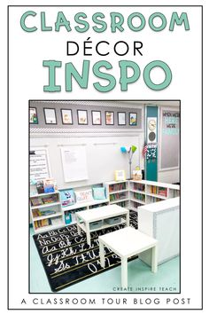 Classroom inspiration and a big classroom reveal! Take a tour of this classroom by Create Inspire Teach and get some great ideas for your own classroom! Library Posters, Classroom Posters, Classroom Crafts, Classroom Design, Math Classroom, Classroom Organization, Classroom Ideas, Middle School Classroom, Classroom Setting