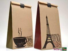 Nostalgic Lunch Bag Branding - Bean House Packaging has a Freshly Parceled Parisian Appeal (GALLERY) Cool Packaging, Paper Packaging, Coffee Packaging, Coffee Branding, Brand Packaging, Design Packaging, Shirt Packaging, Pouch Packaging, Cardboard Packaging