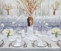 wedding decorations, gay marriage, winter wonderland, wedding centerpieces || Colin Cowie Weddings