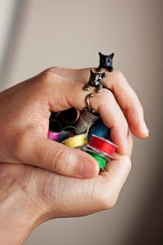 YaciKopo handmade cat ring black / silver / golden colour