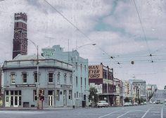 Corner Swanston & La Trobe Streets prior to demolition for Melbourne Central, grab a beer at the Travellers Melbourne Pubs, Melbourne Central, Melbourne Suburbs, Melbourne Australia, Melbourne Victoria, Victoria Australia, Melbourne Architecture, Local History, Family History