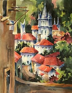 """View from the Balcony-Sintra by Jinnie May Watercolor ~ 28"""" x 22"""""""