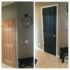 Painted my oak trim and doors! Off white trim with black doors. I'm loving it!