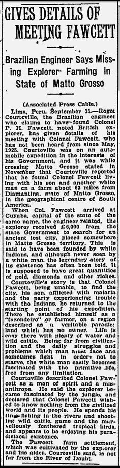 Colonel Fawcett Newspaper Article - Give Details of Meeting Fawcett - Montreal Gazette - Sep 12, 1927