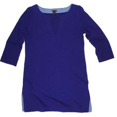 """JCrew Tunic Cotton Dress in Bright Indigo Excellent condition! This bright indigo blue cotton tunic dress from JCrew features a pullover style and 3/4 length sleeves. Unlined. Made of 100% cotton. Measures: bust: 33"""", total length: 29"""", sleeves: 16"""" J. Crew Dresses"""