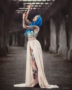 "5,021 Likes, 21 Comments - ASKASU (@askasublue) on Instagram: ""Model @bluexastrid  Photo @wikingart  #dress #beige #tattoo #altfashion #darkbeauty #bluehair…"""