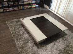 White concrete table with Bamboo insert