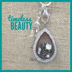 The beautiful Teardrop locket by Origami Owl, vintage style.
