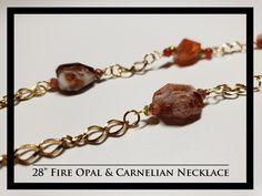 Fire Opal & Carnelian Necklace and Earrings Rock Necklace, Beaded Bracelets, Necklaces, Carnelian, Opal, Rocks, Fire, Free Shipping, Earrings