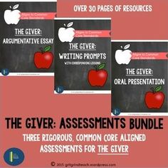 Three resources for writing, listening and speaking about The Giver. Common Core aligned for the middle school classroom.