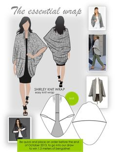 The essential wrap - Shirley knit wrap - easy wrapawesome STYLE ARC newsletter - The essential wrapThe essential wrap, a nice big cocoon sweaterThe essential wrap. No pattern just use the idea and knit or crochet your own.wrap made of two half-ovals. Diy Clothing, Sewing Clothes, Clothing Patterns, Sewing Patterns, Dress Sewing, Sewing Projects For Beginners, Sewing Tutorials, Sewing Tips, Sewing Hacks