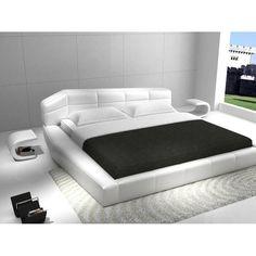J&M Chic Modern Dream White Leather Platform Bed Queen Size Contemporary Design White Platform Bed, Leather Platform Bed, King Size Platform Bed, Platform Bedroom, Modern Platform Bed, Leather Bed, Upholstered Platform Bed, White Leather, Bonded Leather