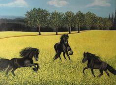 paarden in een koolzaadveld olieverf/paneel