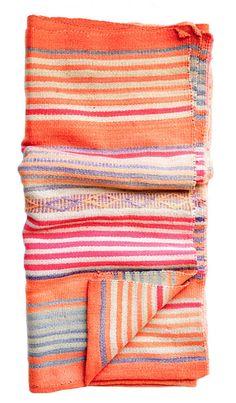Bolivian Frazada Rug / Blanket, Orange Diamond Stripe