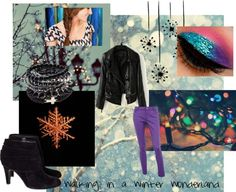 """""""Leather Jacket and Purple Skinnies"""" by melaniemarie ❤ liked on Polyvore"""