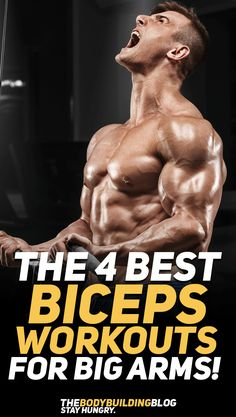 Check out the 4 best biceps workouts for big arms! #fitness #gym #exercise #exercises #workout #health #fit #fitfam