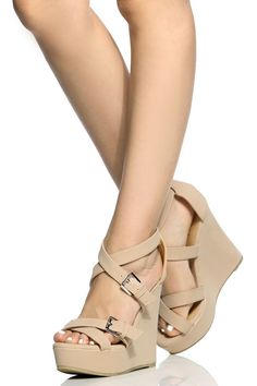 f16ad314c Nude Faux Nubuck Cross Strap Wedges   Cicihot Wedges Shoes Store Wedge Shoes